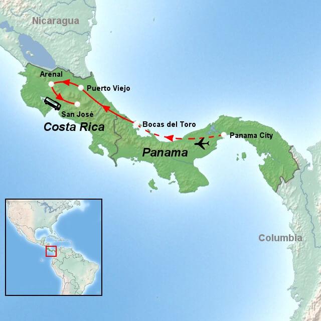 kort-til-panama-og-costa-rica