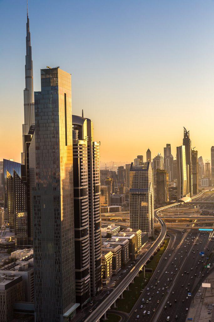 Forenede-Arabiske-Emirater-Dubai-Downtown-Solnedgang