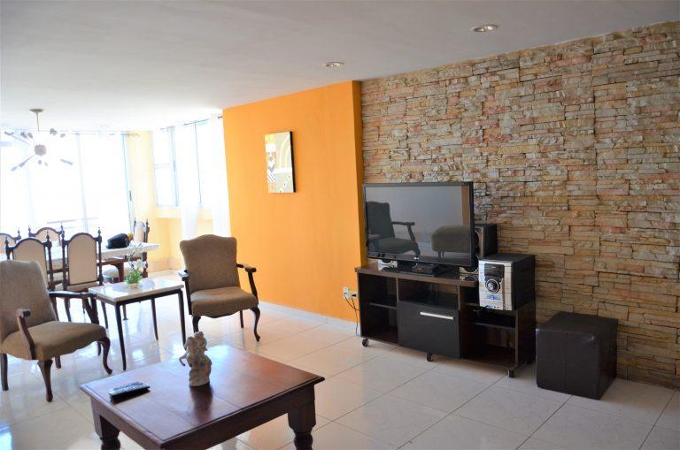 Stue og tv i Alexis lejlighed