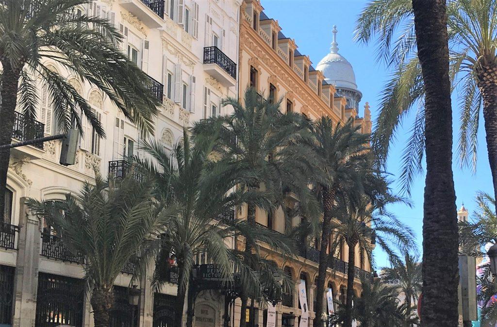 Grønne palmetræer på gaden foran gul bygning i Valencia